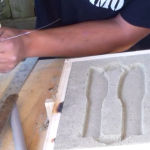 Sand casting demo… Making a practice knife with sand casting