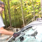 Breaking a car window with different tools.