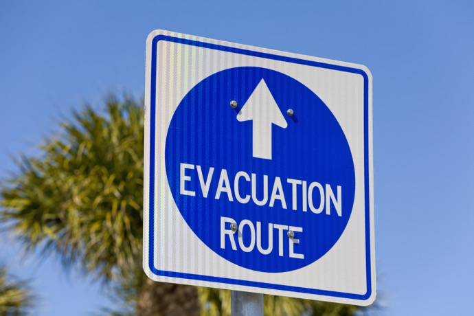 Evacuation Route sign, Florida, USA
